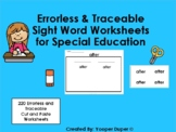 Errorless 220 Dolch Sight Words Cut and Paste Worksheets for Special Education