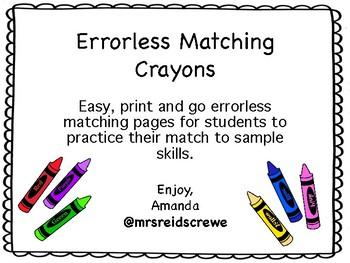 Errorless Crayon Matching Mats