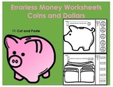 Errorless Money Cut and Paste Worksheets