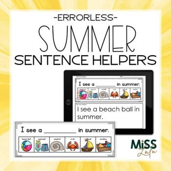 Errorless Writing Sentence Helpers {Summer Theme}