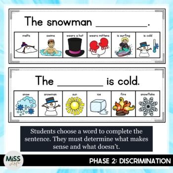 Errorless Writing Sentence Helpers {Winter Theme}