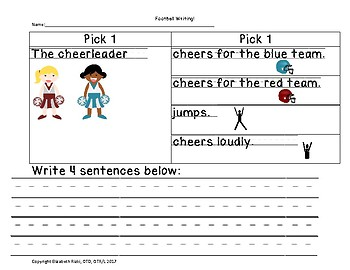 Differentiated football writing for readers & non-readers, 2 versions, no prep,