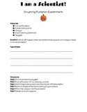 Erupting Pumpkin Science Experiment Recording Sheet