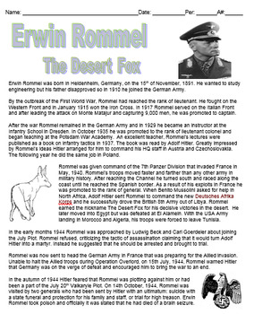 Erwin Rommel Biography and Wordsearch Puzzle