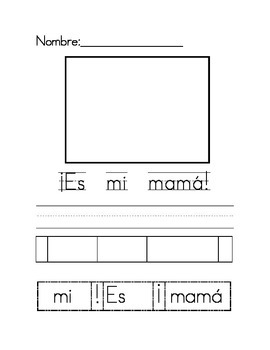 Es mi mama cut and paste writing activity