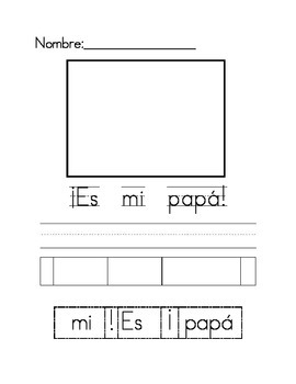 Es mi papa cut and paste writing activity