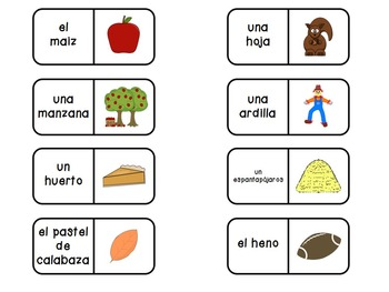 ¡Es otoño! - Spanish fall flashcards, bug in a rug, and domino games