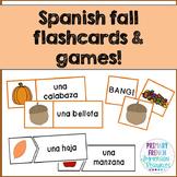 "¡Es otoño! - Spanish fall word wall cards, ""bang"", and matching cards!"