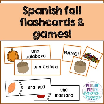 "¡Es otoño! - Spanish fall word wall cards, ""bang"", and matching cards!"