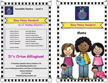 Easy Peasy Decodable Reader: Moms (Short Vowels)