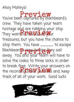 Escape Blackbeard Room 4th Grade Place Value Review