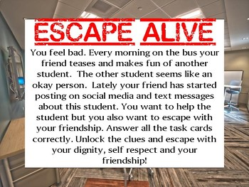 Escape Bullying Task Card Game Activity