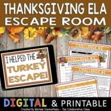 Thanksgiving Escape Room | ELA Escape Room Activity | Dist