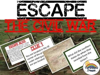 Escape Civil War Review Task Card Game Activity