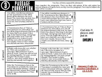 Escape ELA - Subject-Verb Agreement (Dinosaur Theme) - Escape the Room Activity