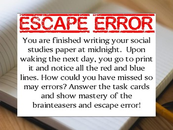 ESCAPE Error Grammar Task Card Test Prep Review Game Activity