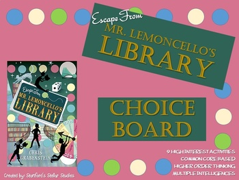 Escape From Mr. Lemoncello's Library Choice Board Novel Study Activities Project