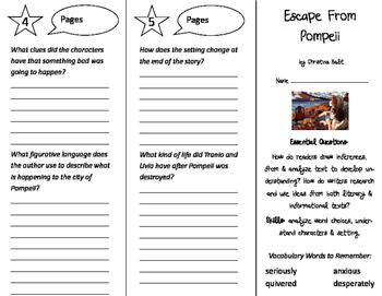 Escape From Pompeii Trifold - ReadyGen 2016 4th Grade Unit 3 Module B