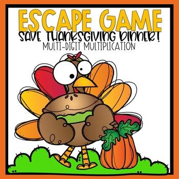 Escape Game Save Thanksgiving Dinner Multi-Digit Multiplication