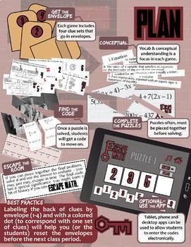 Escape Math -- ALL OF THEM -- Grades (3-12) -- 32+ ESCAPE THE ROOM Math Games