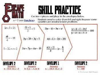 Escape Math - Multi-Step Equations -- Escape the Room Style Class Activity