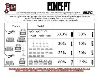 Escape Math - Percent -- Escape the Room Style Activity