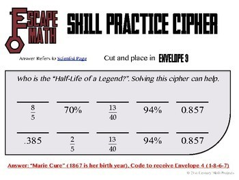 Escape Math - Percent, Fraction & Decimal -- Escape the Room Style Activity