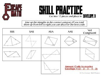 Escape Math - Triangle Congruency - Escape the Room Style Activity