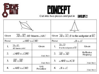 Escape Math - Triangle Congruency - Escape the Room Style Activity