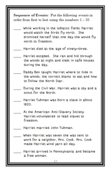 Escape North! The Story of Harriet Tubman (Monica Kulling) Book Study (20 pages)