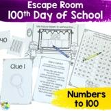Escape Room: 100th Day of School! Breakout Activity for Kindergarten
