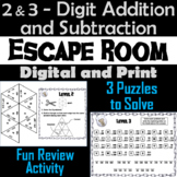 Escape Room: 2 and 3 Digit Addition and Subtraction With and Without Regrouping