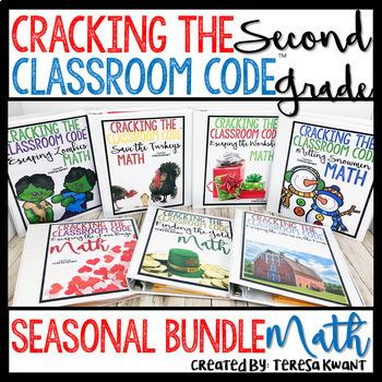 Escape Room 2nd Grade Math Seasonal Bundle Cracking the Classroom Code™