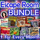 Escape Room Activity Bundle One for Every Month Monthly Es