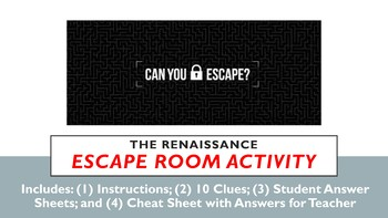 Escape Room Activity!  The Renaissance