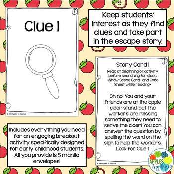 Escape Room: Apple Cider Stand! Matching Numbers to Quantity Breakout Activity