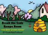 Escape Room (Bees' Stolen Honey)-2nd Grade Math Computation & Word Problems