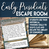 Escape Room (Break out) the Early Presidents Historical Thinking Skills