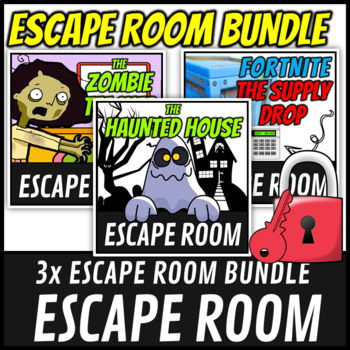 Escape Room Bundle Math Mystery (Fortnite, Zombie, Haunted House)