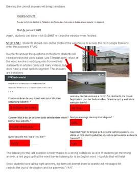 Escape Room Challenge! Intermediate/Advanced Québécois Cultural Webquest