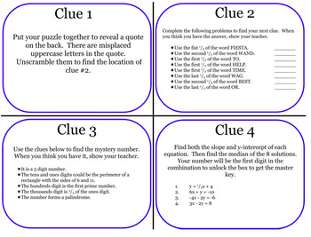 Escape Room Challenge with slope-intercept form, fractions, and more!