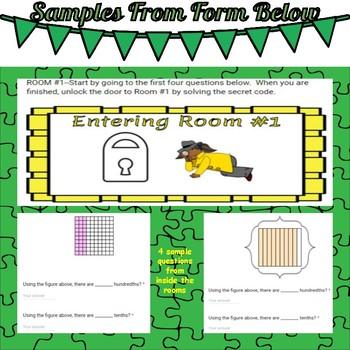 Escape Room-Decimals--Converting Tenths and Hundredths