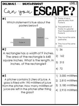 Escape Room Decimals and Measurement