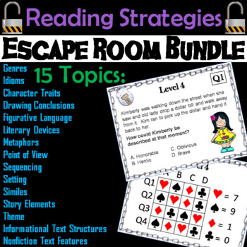 ELA Escape Room: Reading Strategies, Grammar, and Vocabulary Bundle