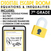 Escape Room Equations and Inequalities   Distance Learning   7th Grade