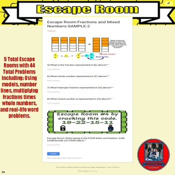 Escape Room Exit Ticket on Google Forms-Fractions