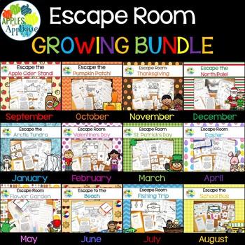 Escape Room GROWING BUNDLE! Breakout Activities for Pre-K and Kindergarten