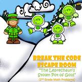 Escape Room (Leprechauns Stolen Gold)-2nd Grade Math Computation & Word Problems