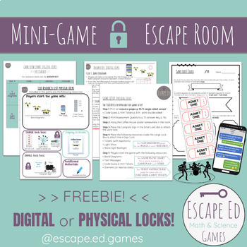 photograph about Escape Room Printable named Escape Place Mini Math Activity - Electronic or Printable with Actual physical Locks - FREEBIE