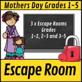 Escape Room: Mothers Day Math Mom Mystery Grade 1-5 Bundle